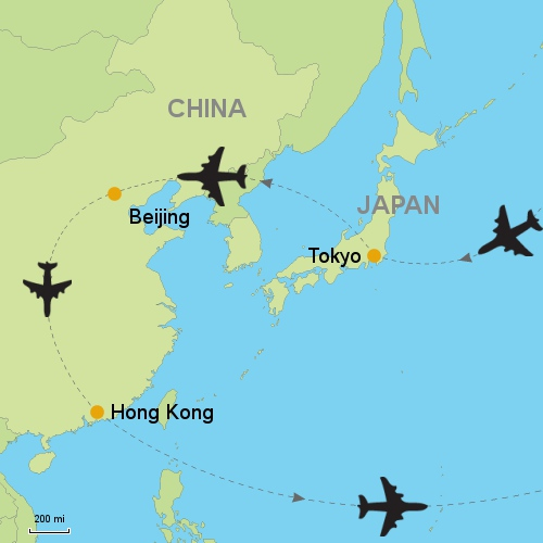 Tokyo beijing hong kong customizable itinerary from asia map tokyo beijing hong kong gumiabroncs Image collections