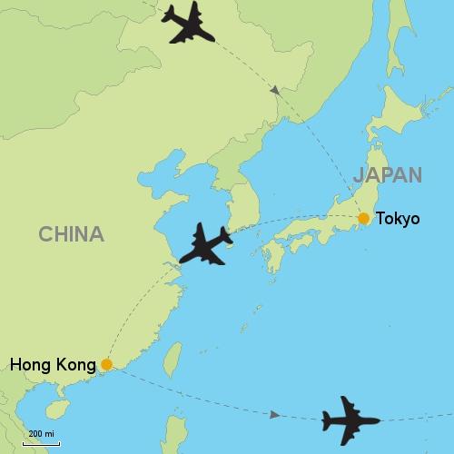 Tokyo hong kong customizable itinerary from asiaipmasters map tokyo hong kong gumiabroncs Image collections