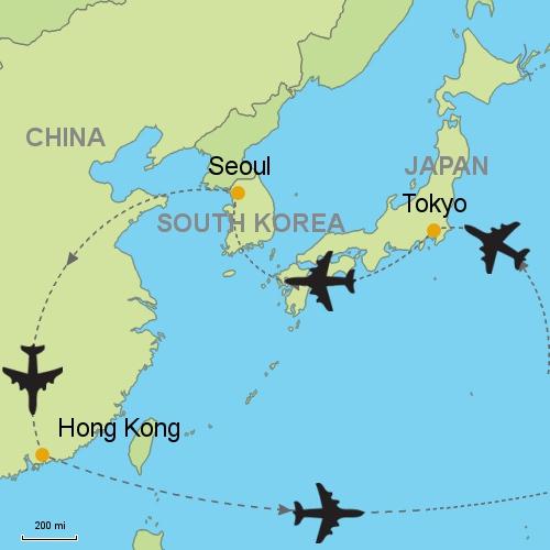 Tokyo seoul hong kong customizable itinerary from asia map tokyo seul hong kong gumiabroncs Image collections
