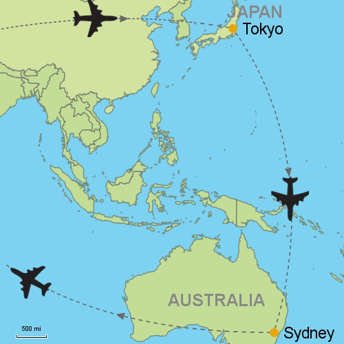 Map Of Australia Japan.Tokyo Sydney