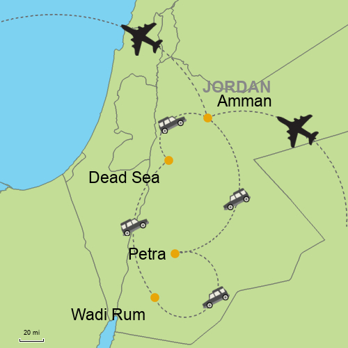 Map Of Asia Jordan.Amman Petra Wadi Rum Dead Sea