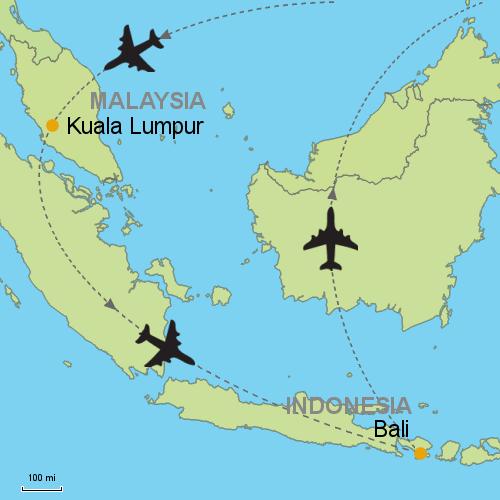 Kuala lumpur bali denpasar customizable itinerary from asia map kuala lumpur bali gumiabroncs Choice Image