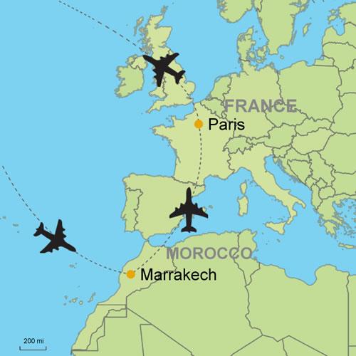 Karte Paris.Marrakech And Paris By Air