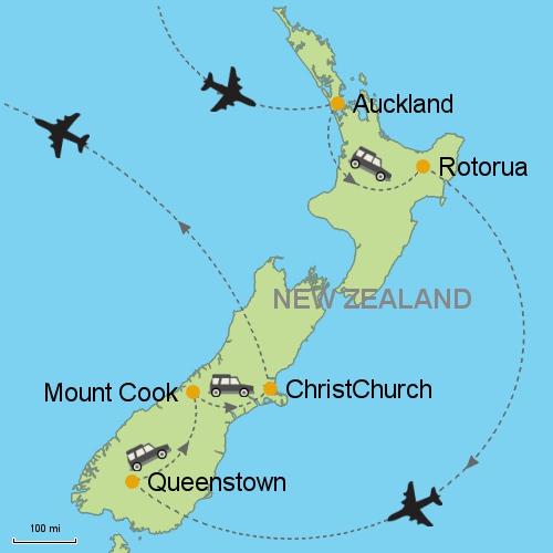Map Of Rotorua New Zealand.Auckland Rotorua Queenstown Mt Cook Christchurch