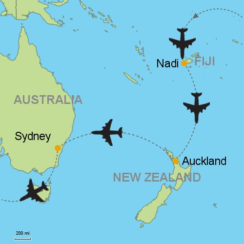 Fiji nadi auckland sydney customizable itinerary from asia map fiji nadi auckland sydney gumiabroncs Gallery