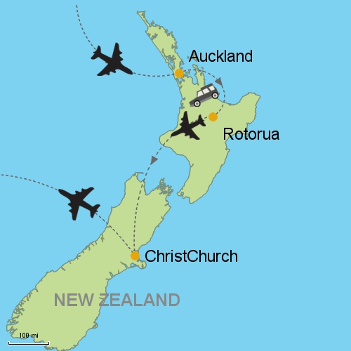 Rotorua New Zealand Map.Auckland Rotorua Christchurch Via Air New Zealand