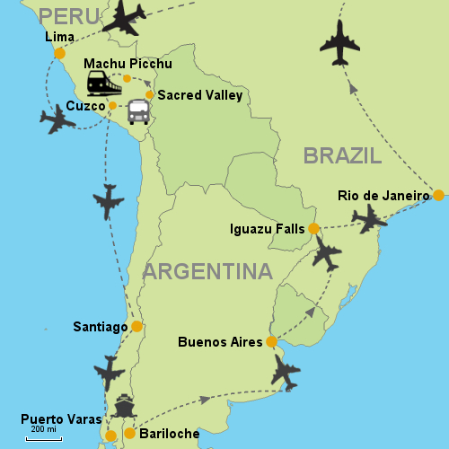 Peru Chile Argentina Brazil Customizable Itinerary From - Argentina map bariloche