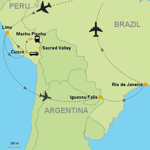 Machu Picchu Iguassu Falls Rio de Janeiro Customizable Itinerary