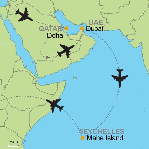 Doha Dubai Seychelles Customizable Itinerary From Asia - Seychelles map world