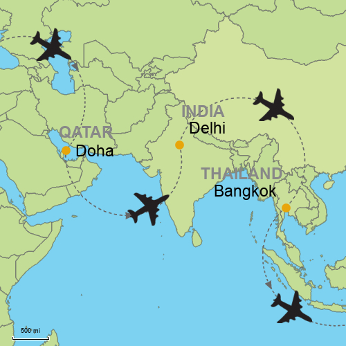 Doha Delhi Bangkok Customizable Itinerary From Asia Tripmasters Com