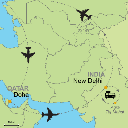 Doha delhi with taj mahal and agra full day customizable itinerary map doha delhi taj mahal agra gumiabroncs