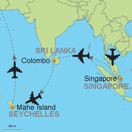 Map Singapore Colombo Seychelles
