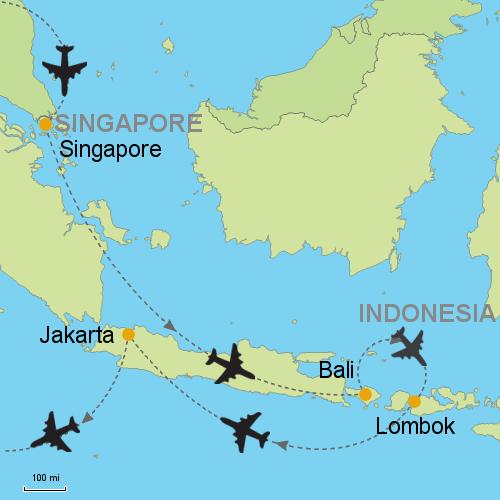 Singapore bali lombok jakarta customizable itinerary from map singapore bali lombok jakarta gumiabroncs Image collections