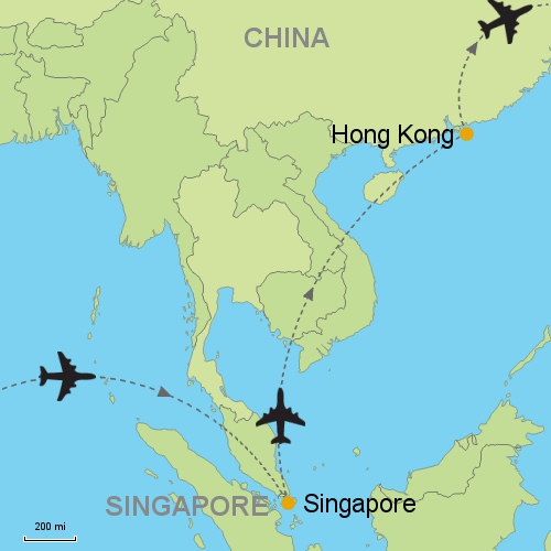 Singapore hong kong customizable itinerary from asiaipmasters map singapore hong kong gumiabroncs Gallery