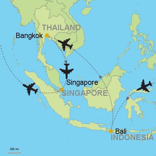 Bali bangkok singapore customizable itinerary from asia map bali bangkok singapore gumiabroncs Choice Image