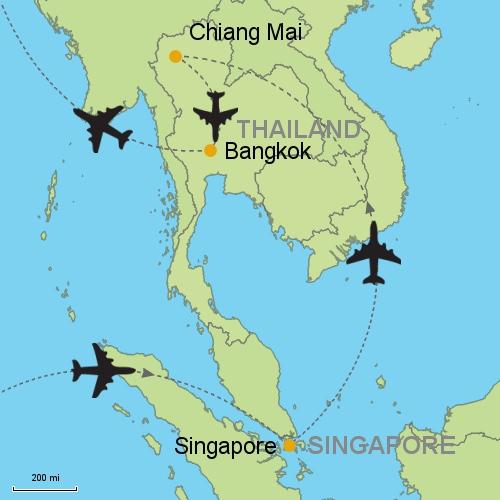 Asia Map Singapore.Singapore Chiang Mai Bangkok Customizable Itinerary From Asia