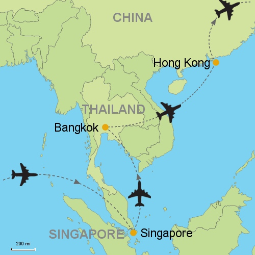 Singapore bangkok hong kong customizable itinerary from asia map singapore bangkok hong kong gumiabroncs Gallery