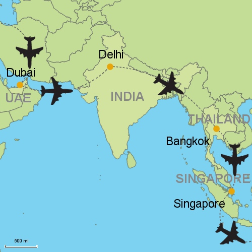 Dubai delhi bangkok singapore customizable itinerary from asia map dubai delhi bangkok singapore gumiabroncs Choice Image
