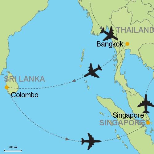 Bangkok Colombo Singapore Customizable Itinerary from Asia