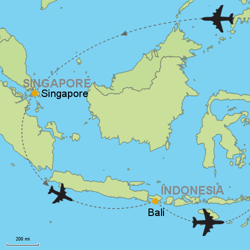Singapore bali customizable itinerary from asiaipmasters map singapore bali gumiabroncs Image collections
