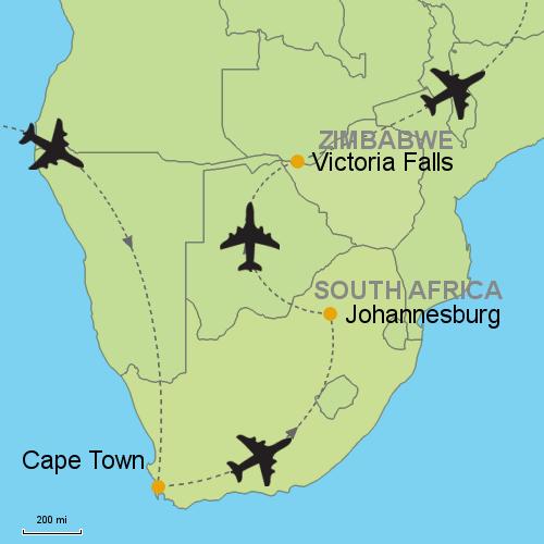 Map Of Africa Victoria Falls.Cape Town Johannesburg Victoria Falls