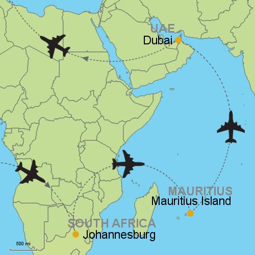 Johannesburg - Mauritius - Dubai