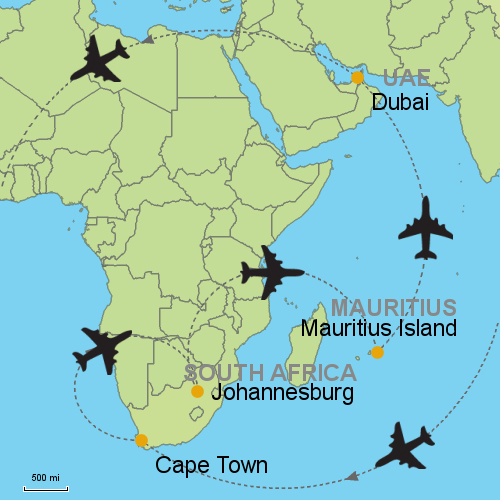 Cape Town - Johannesburg - Mauritius - Dubai Customizable Itinerary ...