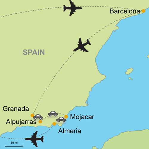 Mojacar Spain Map.Barcelona And Granada Alpujarras Costa De Almeria Customizable