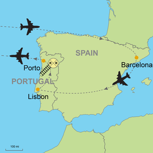 Lisbon Spain Map.Barcelona And Lisbon Porto Customizable Itinerary From Tripmasters Com