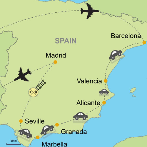 Map Of Spain With Barcelona.Best Of Spain Self Drive