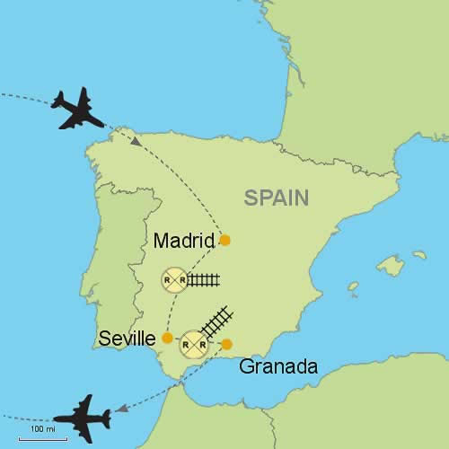 Map Of Spain With Madrid.Madrid Seville Granada