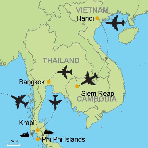 Hanoi - Siem Reap - Bangkok - Krabi - Phi Phi Islands on batam island map, cebu island map, hong kong island map, vancouver island map, amsterdam island map, bintan island map, koh mook island map, phu quoc island map, racha island map, samui island map, redang island map, thailand island map, surin island map, lombok island map, bali island map, koh phangan map, tioman island map, taipei island map, phuket map, paris island map,