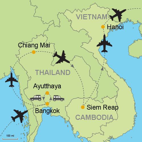 Bangkok - Ayutthaya - Chiang Mai - Siem Reap - Hanoi Customizable ...