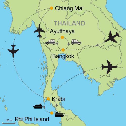 Carte Thailande Ayutthaya.Bangkok Ayutthaya Chiang Mai Phi Phi Islands Krabi