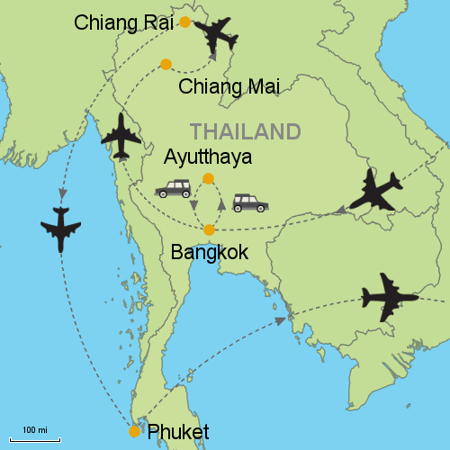 Bangkok Ayutthaya Chiang Mai Chiang Rai Phuket Customizable
