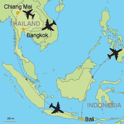 Map Bangkok Chiang Mai Bali
