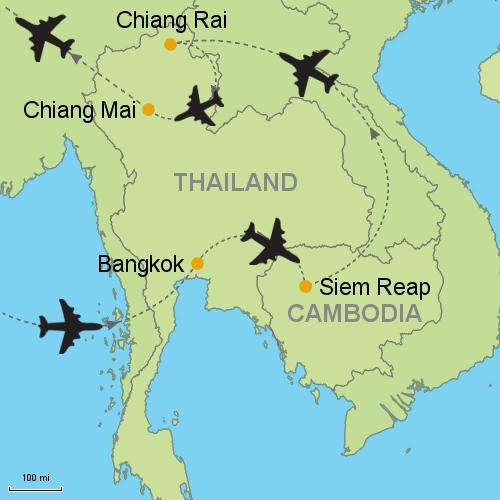 Chiang Mai Thailand Map Bangkok   Siem Reap   Chiang Rai   Chiang Mai Customizable
