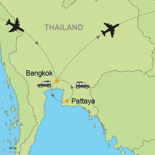 Bangkok pattaya customizable itinerary from asiaipmasters map bangkok pattaya gumiabroncs Gallery