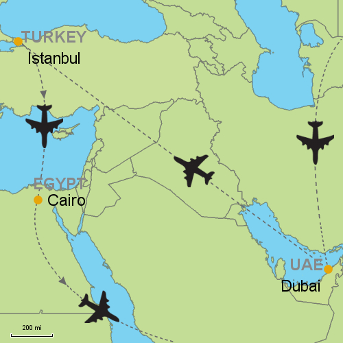 Map Of Asia Dubai.Dubai Istanbul Cairo