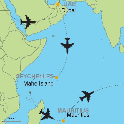 Dubai seychelles mauritius customizable itinerary from asia map dubai seychelles mauritius gumiabroncs Choice Image