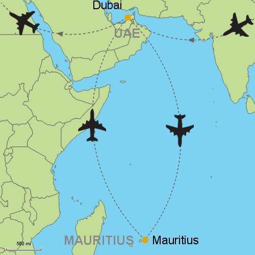 map dubai mauritius dubai