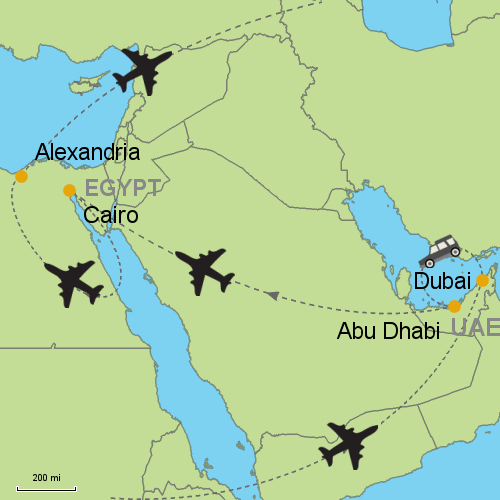 Dubai - Abu Dhabi - Cairo - Alexandria Customizable Itinerary from on