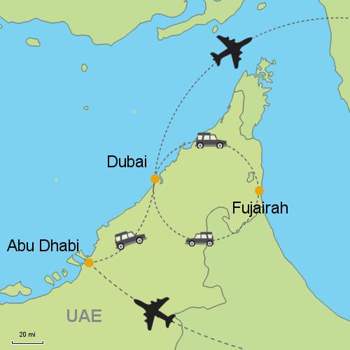 map abu dhabi dubai fujairah