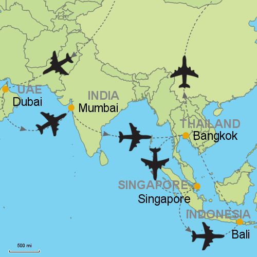 Dubai mumbai bangkok singapore bali customizable itinerary map dubai mumbai bangkok singapore bali gumiabroncs Gallery