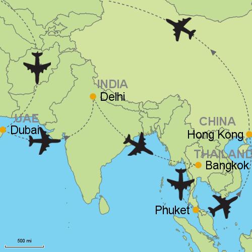 Map Of Asia Dubai.Dubai Delhi Bangkok Phuket Hong Kong