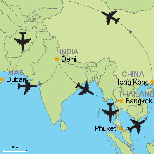 Dubai In Asia Map on