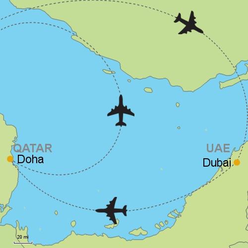 Dubai doha customizable itinerary from asiaipmasters map dubai doha gumiabroncs Image collections