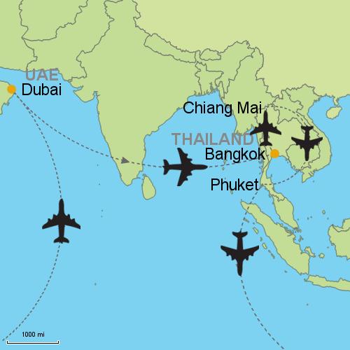 Dubai bangkok chiang mai phuket customizable itinerary from map dubai bangkok chiang mai phuket gumiabroncs Image collections