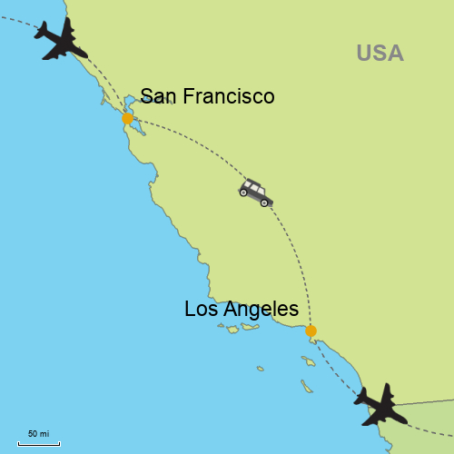 San Francisco To Los Angeles Map.San Francisco Los Angeles By Car Customizable Itinerary From Asia