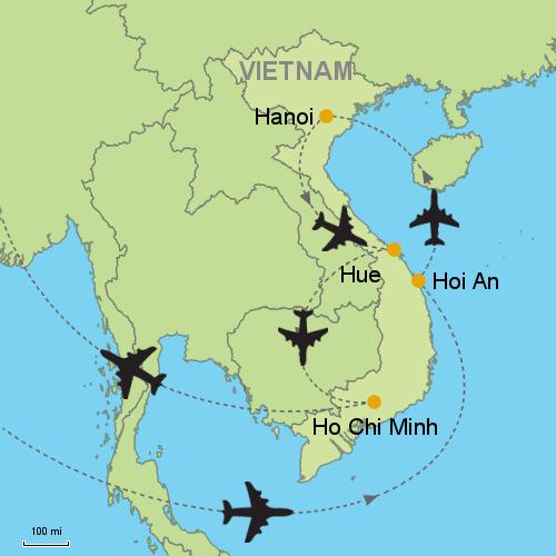 Ha Noi Vietnam Map.Hoi An Hanoi Hue Ho Chi Minh Customizable Itinerary From Asia